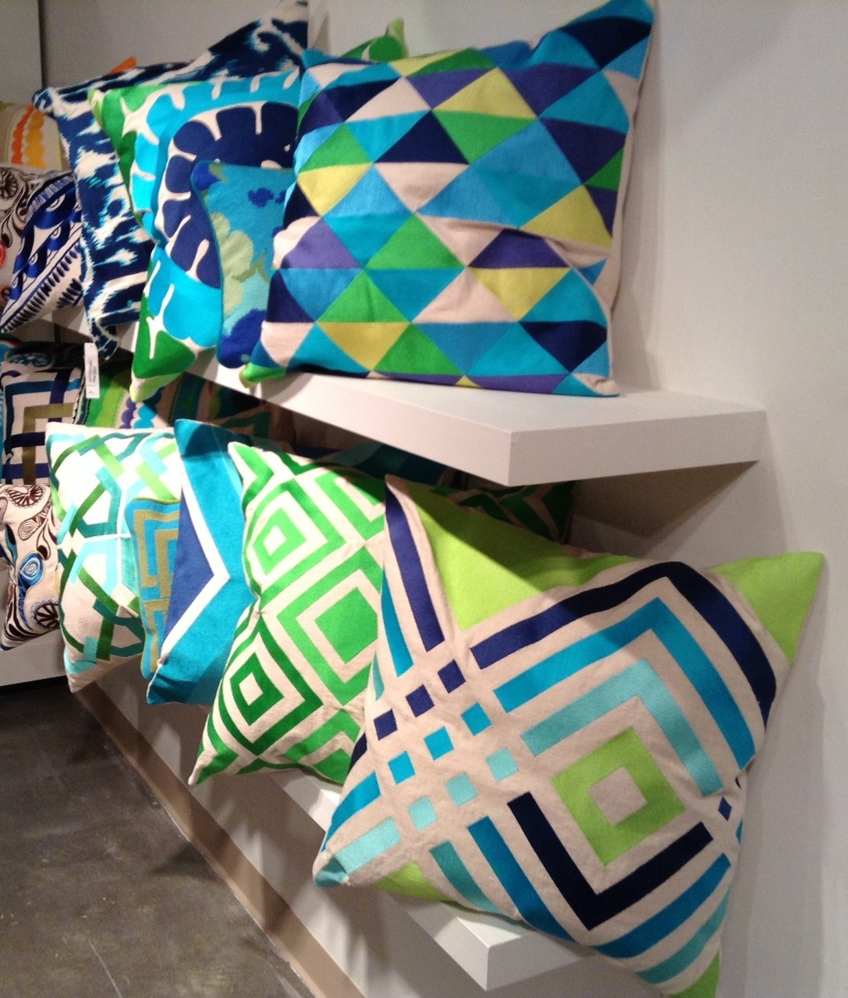 Geometrics in blues and greens - Peking Handicraft